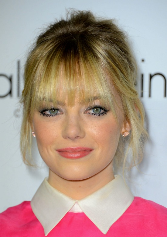 Emma Stone Updo with Front Bangs