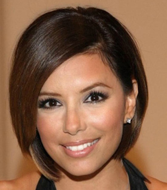 Eva Longoria Sassy Bob Haircuts for Round Faces