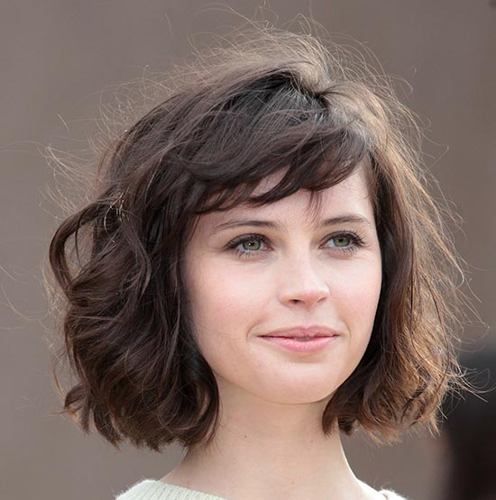 Felicity Jones Shaggy Bob Haircuts
