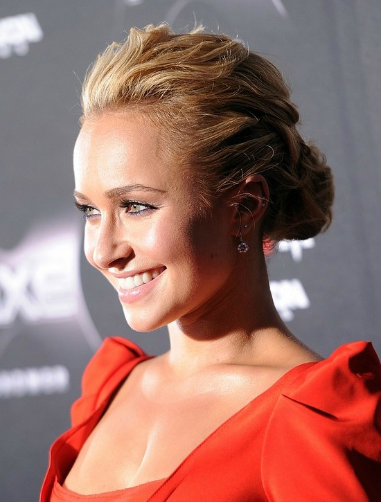 Hayden Panettiere Loose Low Bun Updo Hairstyle