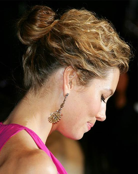 Jessica Biel Updos for Medium Length Hair
