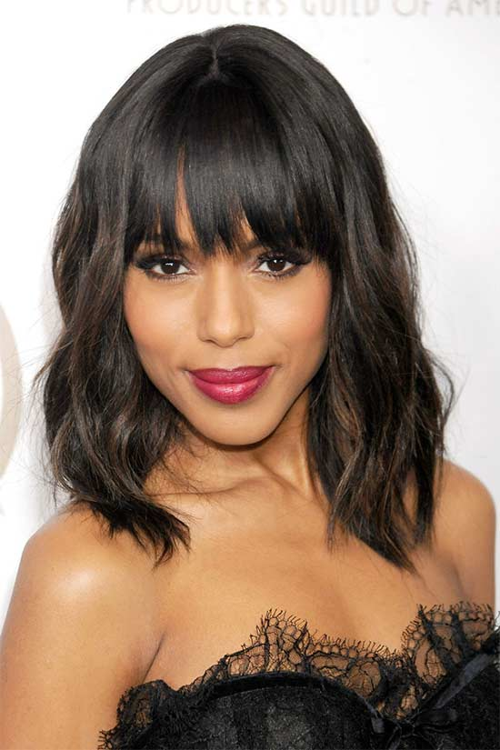 Kerry Washington Medium Shag Haircuts