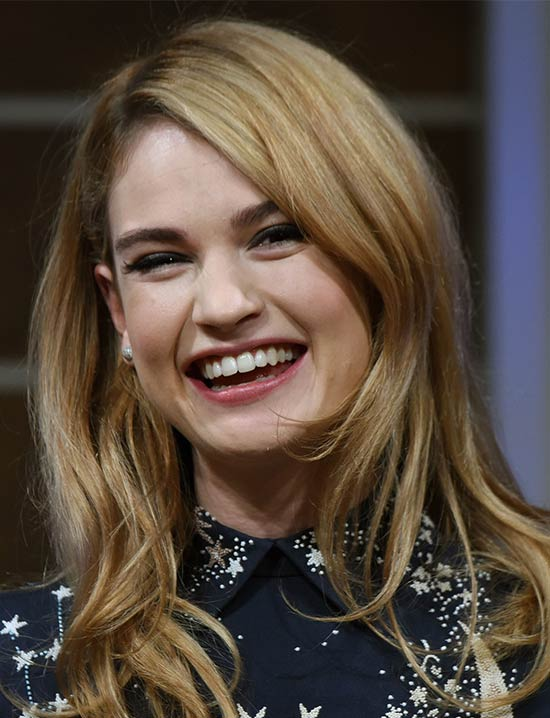 Lily James Medium Straight Hairstyles