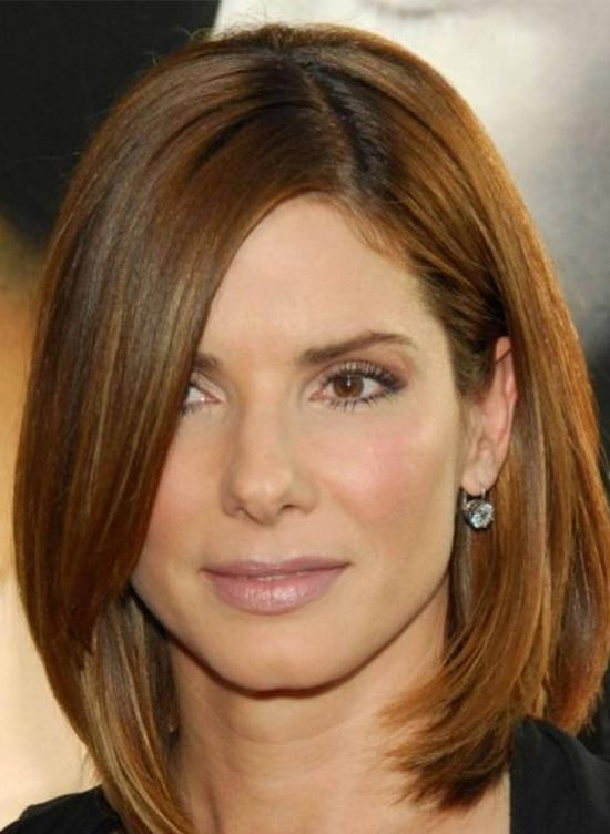 Sandra Bullock Medium Length Haircuts for Thick Hair