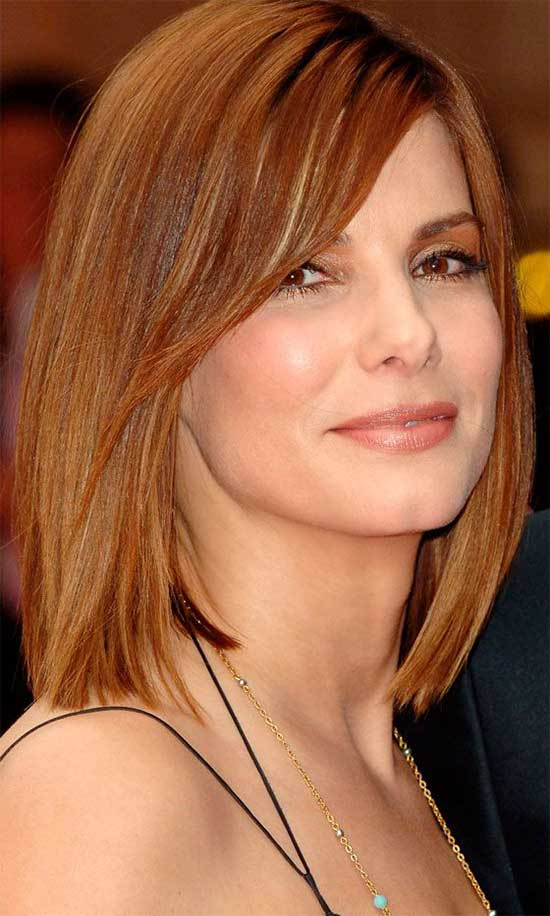 Sandra Bullock Medium Red Hairstyles