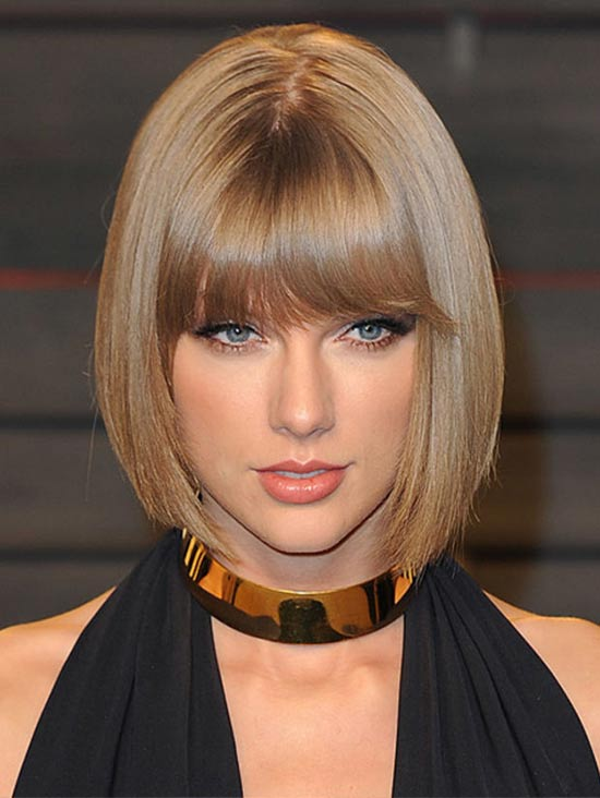 Taylor Swift Medium Straight Hairstyles