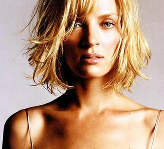 Uma-Thurman Choppy Bob Hairstyles