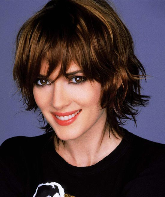 Winona Ryder Medium Shag Haircuts