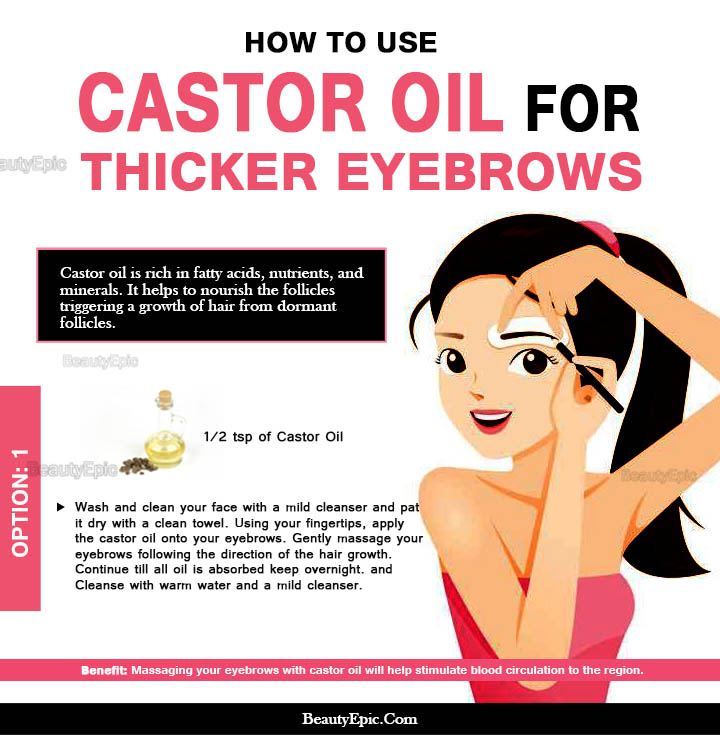 how to apply castor oil for eyebrows