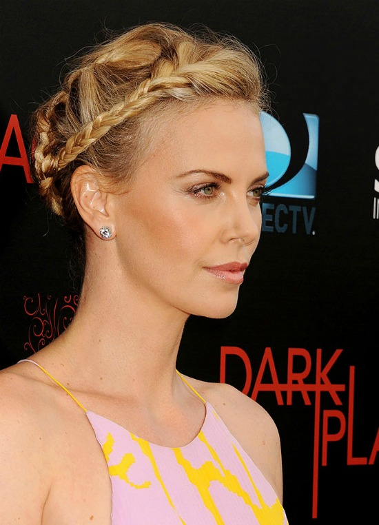 charlize theron side braid