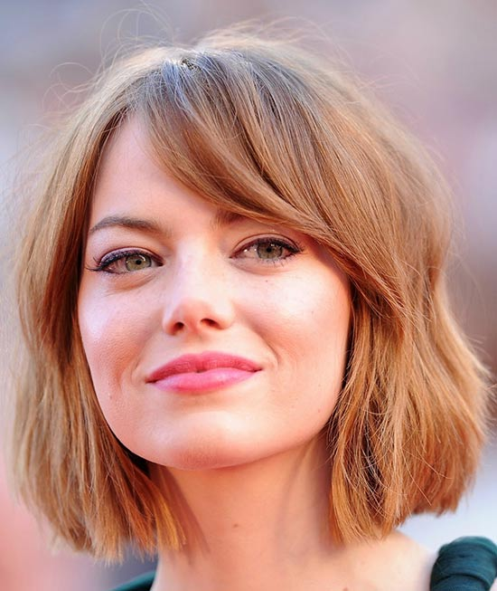 emma stone Sassy Bob Haircuts for Round Faces