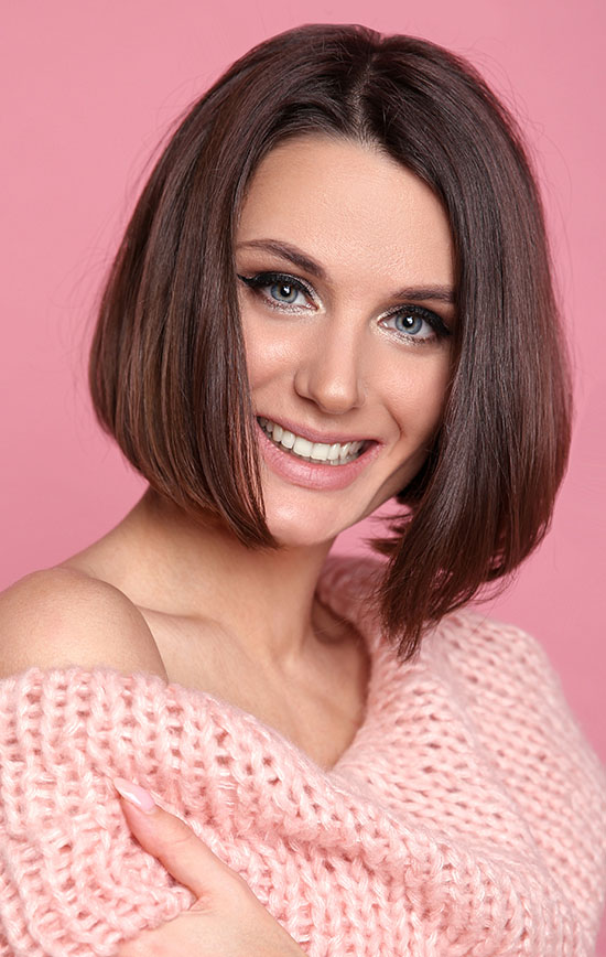 middle part long bob hairstyle