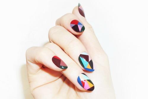 Striped Color Geometric Nail Art Design