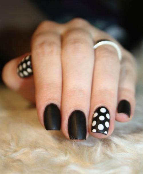 Black nails with white Polka Dots