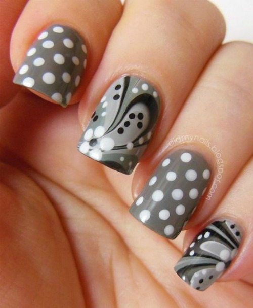 Gray Flower Polka Dot Nail Art