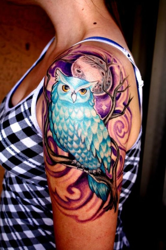 owl tattoo design on shoulder