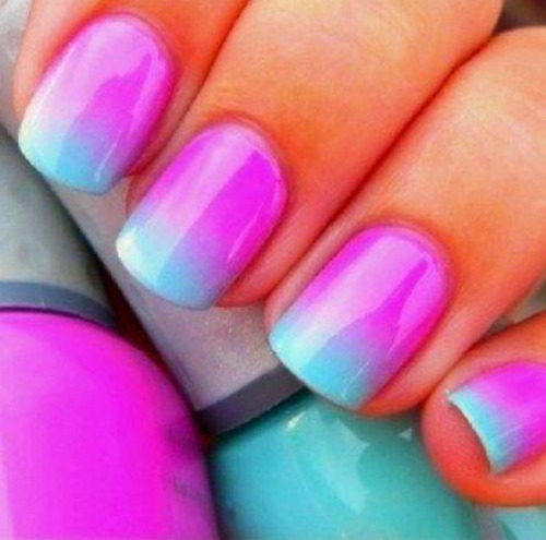 Pink Ombre Nail Designs for Short Nails