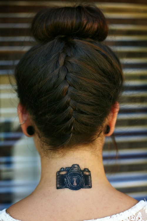 Camera Tattoo on Back of Neck
