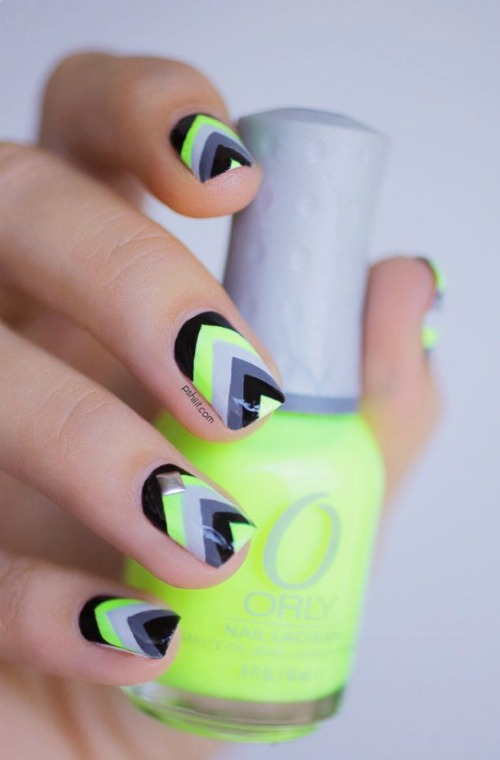 Black and Yellow Geometric Nail Art