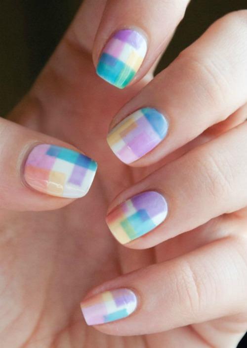 Multicolored Geometric Nail Art