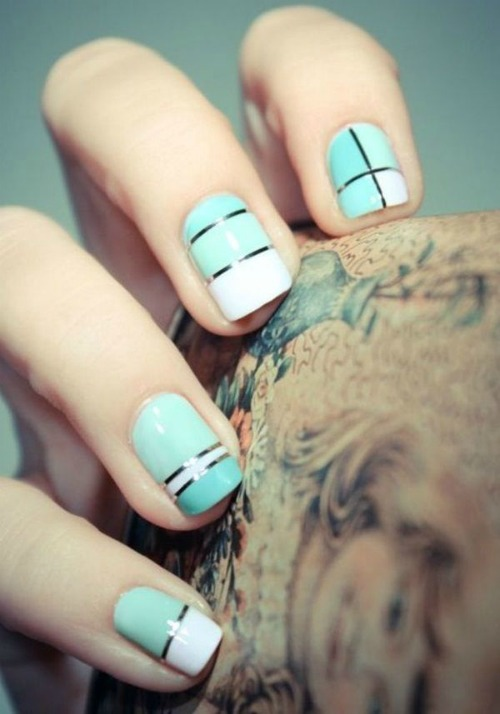 Striping Tape Nail Designs for Short Nails