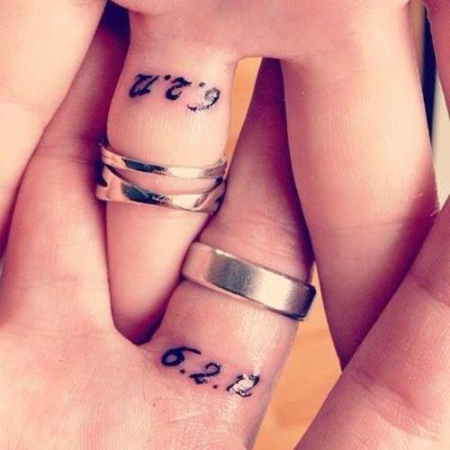 wedding date couple tattoos