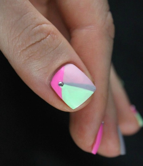 Rhinestone Geometric Nail Art