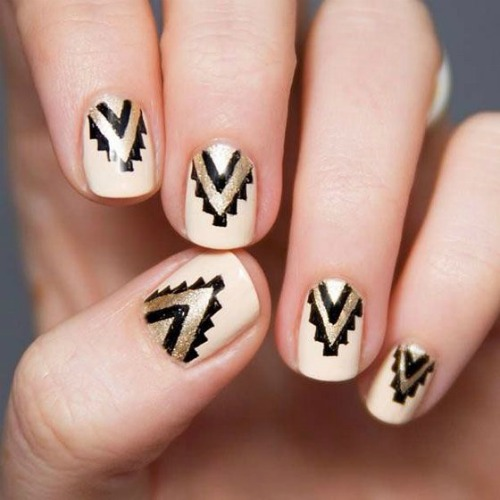 40 beautiful geometric nail art ideas youll love gold and black geometric nail art prinsesfo Images