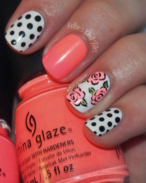 flowers and polka dot Nail Art