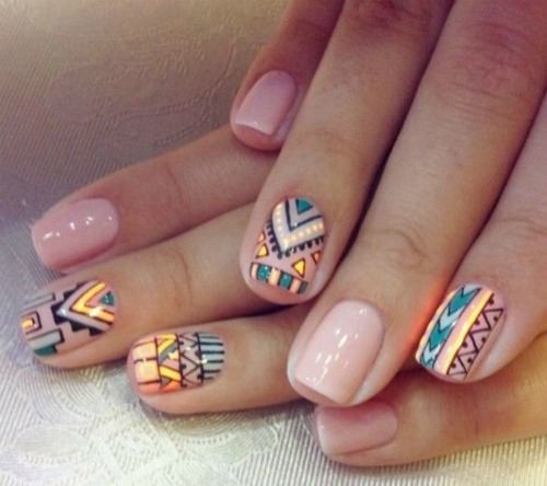 50 beautiful nail designs for short nails that you can try at home colorful tribal print nail art design prinsesfo Image collections