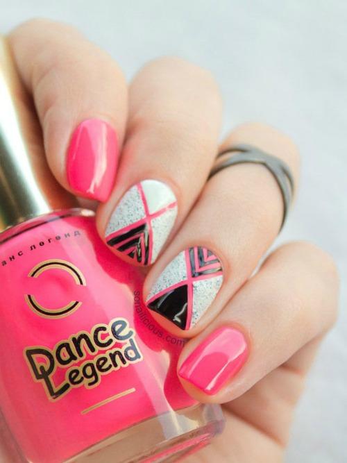 Black Pink And White Geometric Nail Art