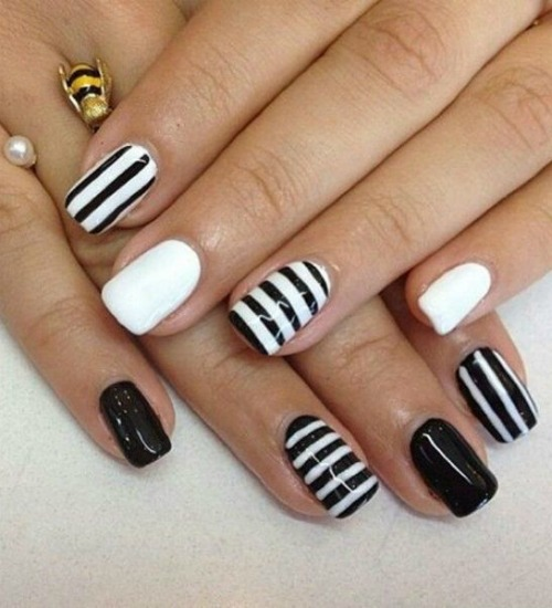 Monochromatic Black And White Nail Design