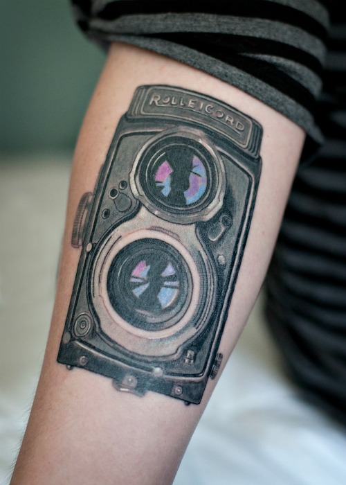 Big Camera Tattoo On Hand