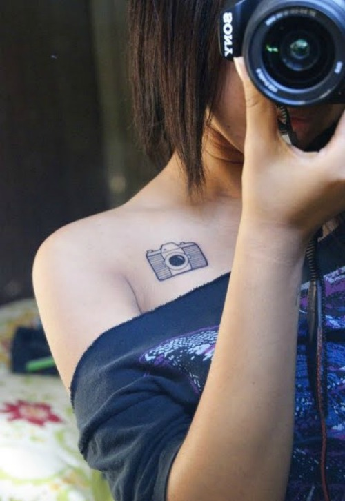 Tiny Shoulder Camera Tattoo Design