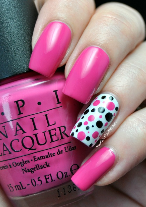 Pink and Black Polka Dot Nails