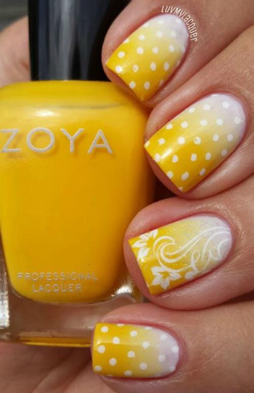 Yellow & white ombre polka dot nail Art