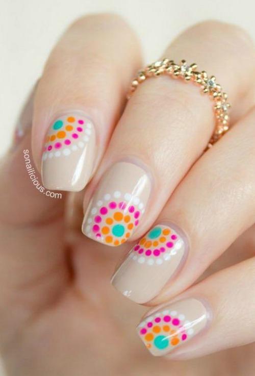Pink and Orange Polka Dot Nail Art