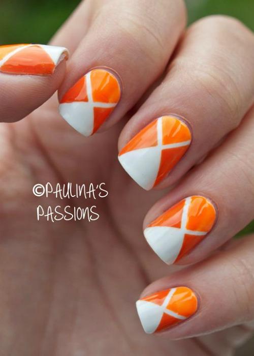 Matte Orange Geometric Nail Art