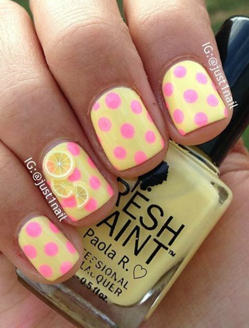 Yellow Nail Polish with Pink Polka Dots