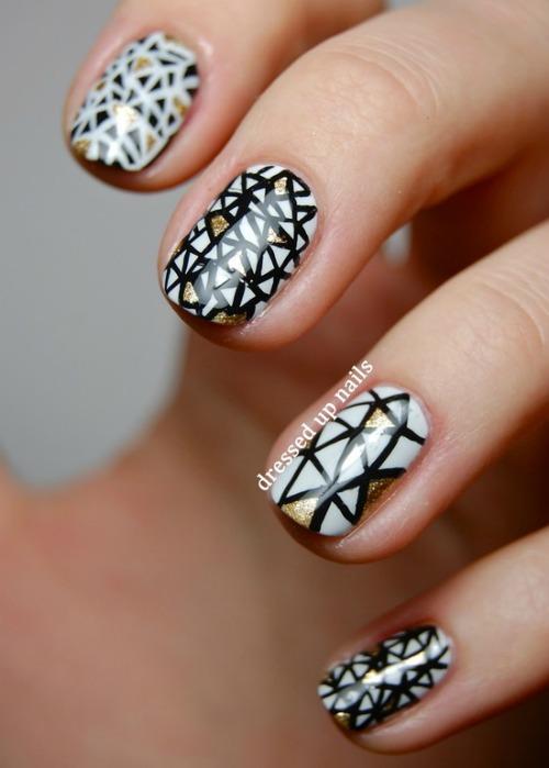 gorgeous sheer black Geometric Nail Art