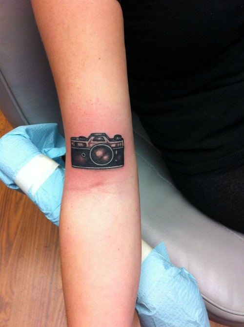 Cute Camera Tattoo On Hand