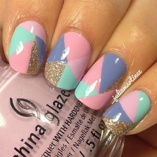 Pastel Color Geometric Nail Art