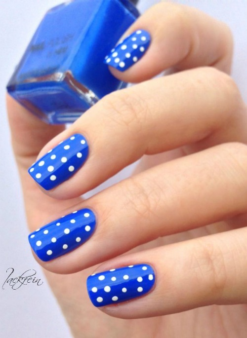 Blue Polish with white polka Dots
