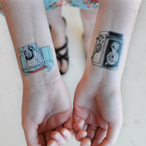 Couple Camera Tattoo on Wrist