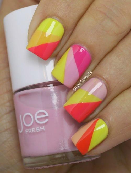 Multi Color Geometric Nail Art