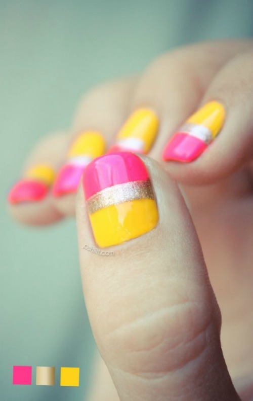 Two Color Nail Designs for Short Nails