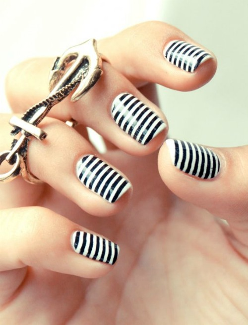 Black And White Tribal Nail Art Design