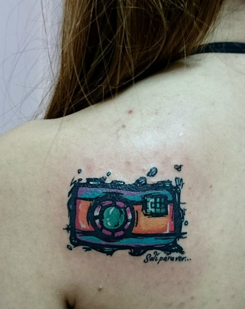 Back Shoulder Camera Tattoo For Girls