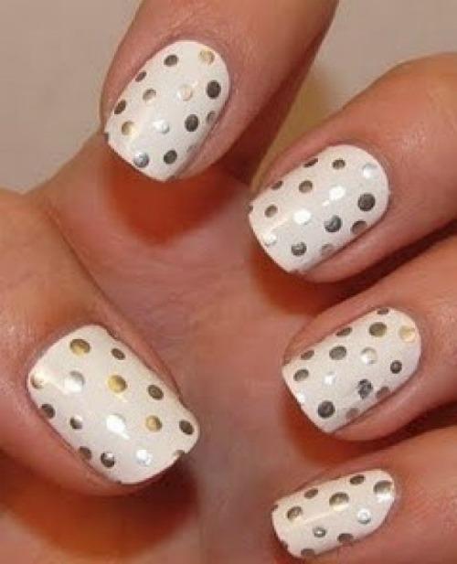 Silver Polka Dot Nail Design