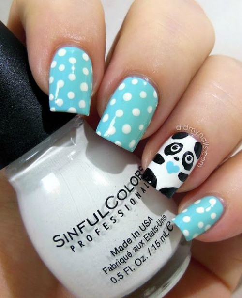 White Polka dots with Cute Panda